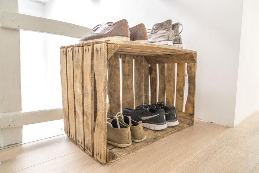 caisses en bois rangement chaussures DIY