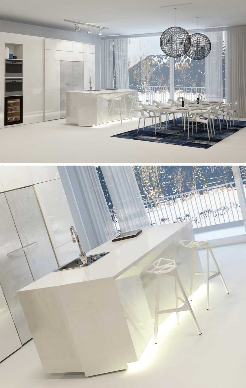 Environnement super moderne avec grande surface habitable et cuisine rétractable, mobilier contemporain.
