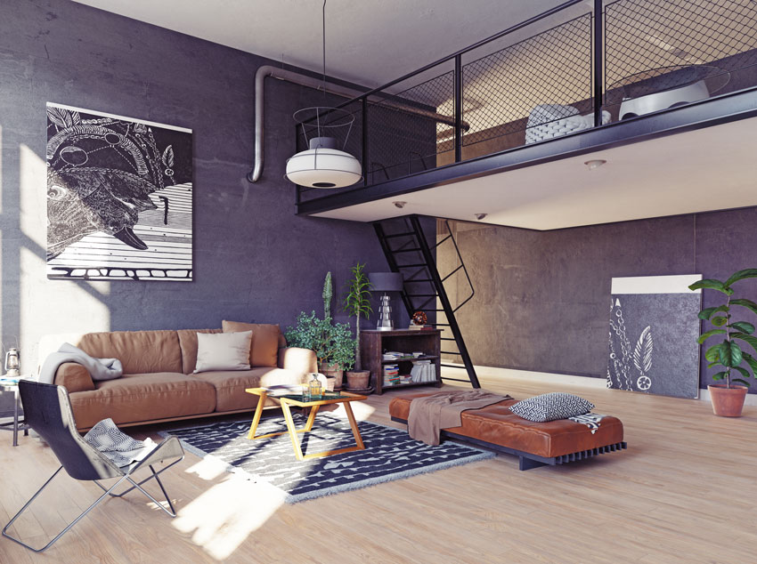 Open space style vintage avec mezzanine relax.