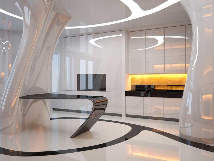 Cuisine design ultra moderne blanche brillante avec illuminations LED.