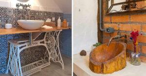 lavabos originaux avec des objets de récup.