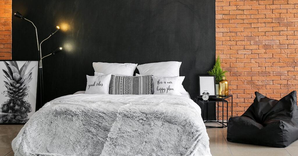inspirations mur avec briques apparentes chambre à coucher