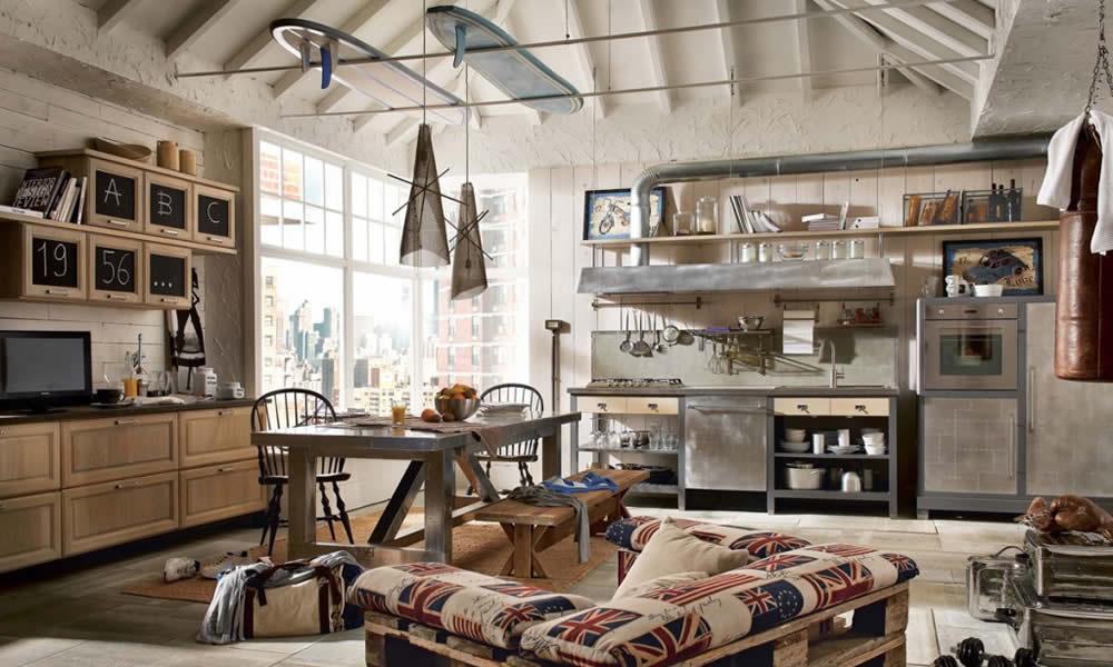 Cuisine ouverte sur le salon style industriel.