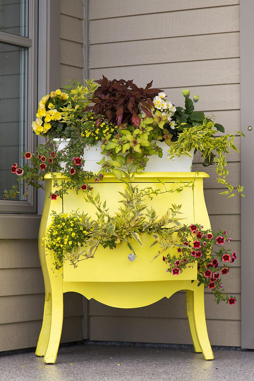 Vieux commode avec des fleurs pour décorer son porche au printemps