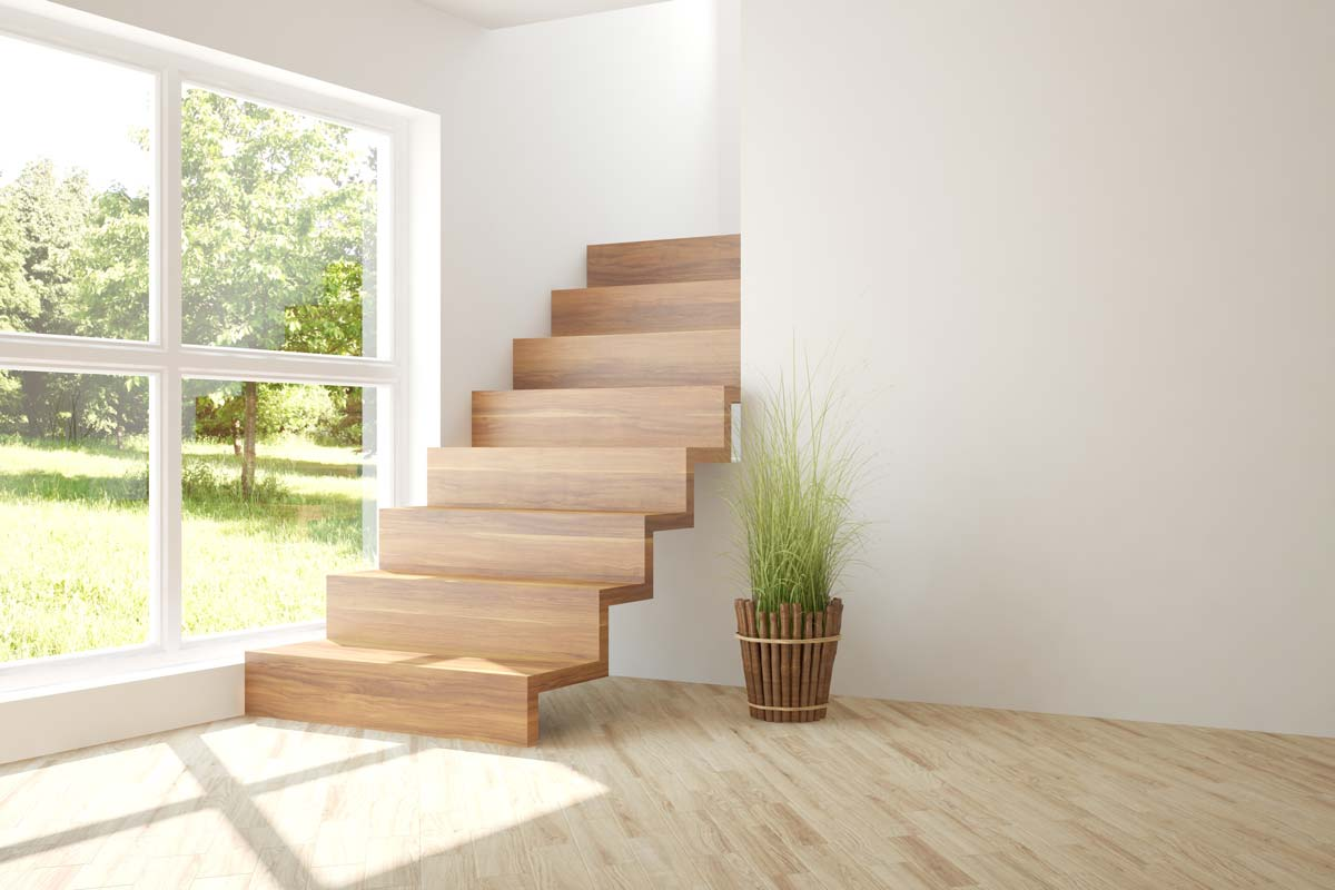 Escalier en bois effet suspendu
