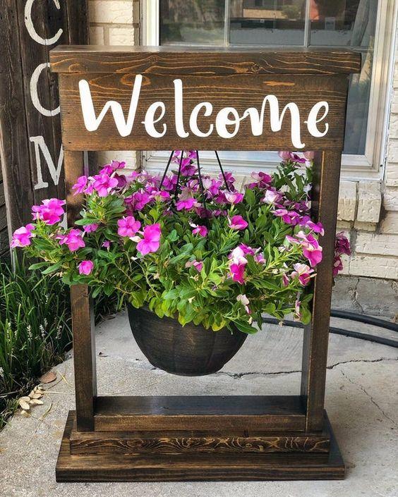 panneau welcome avec des fleurs pour le printemps