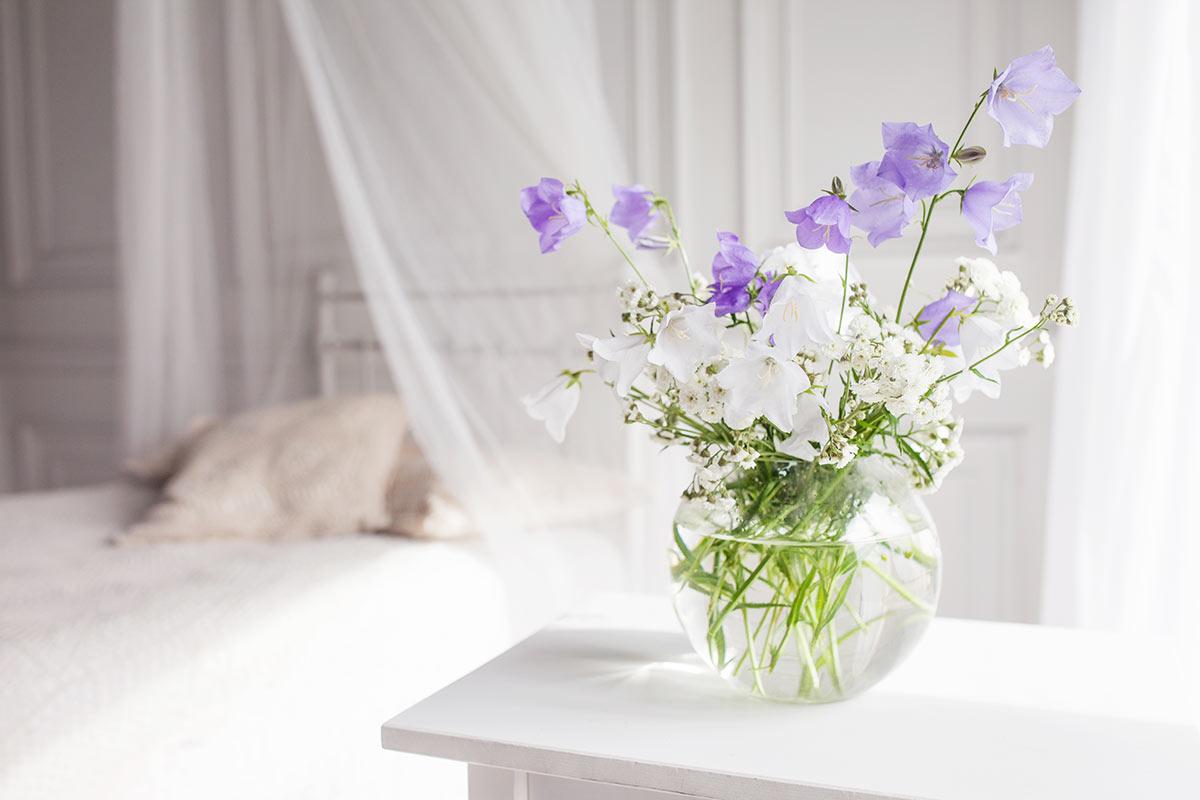 Très joli vase transparent avec du Lilas.