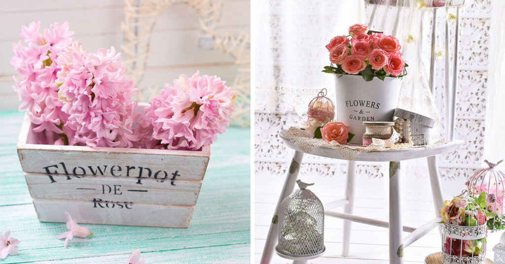 Décorations florales style shabby.