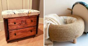 Pouf DIY avec matériaux recyclés.